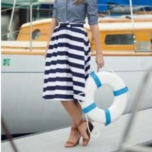 Nwt Nautical striped A line skirt by Shabby Apple